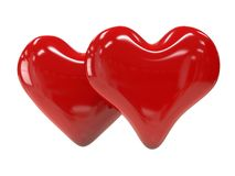 Coração dois brilhante vermelho isolado no fundo branco Foto de Stock Royalty Free