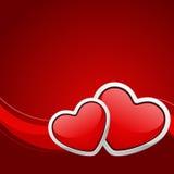 Coração dois lustroso vermelho Imagens de Stock Royalty Free