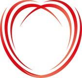 Coração dos círculos, linhas no logotipo do vermelho, do coração e do amor ilustração royalty free