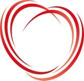 Coração dos círculos, linhas no logotipo do vermelho, do coração e do amor ilustração stock