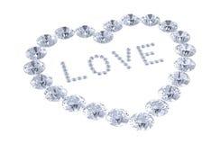 Coração dos diamantes com amor da palavra Foto de Stock