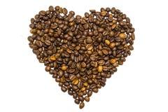 Coração dos feijões de café isolados Imagens de Stock
