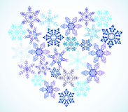 Coração dos flocos de neve Imagens de Stock Royalty Free