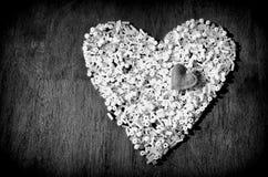 Coração dos grânulos brancos com coração pequeno na parte superior Preto & branco Fotos de Stock