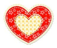 Coração dos retalhos e do laço Imagens de Stock