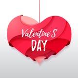 coração dos Valentim do origâmi 3d Valentine& x27; dia de s ilustração royalty free