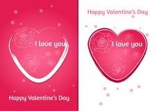 Coração dos Valentim Grupo de cartão do dia do ` s de dois Valentim com fundo borrado Fotos de Stock Royalty Free