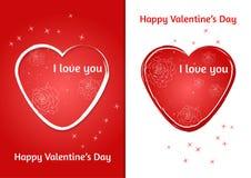 Coração dos Valentim Grupo de cartão do dia do ` s de dois Valentim com fundo borrado Imagem de Stock