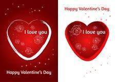 Coração dos Valentim Grupo de cartão do dia do ` s de dois Valentim com fundo borrado Imagens de Stock