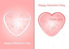 Coração dos Valentim Grupo de cartão do dia do ` s de dois Valentim com fundo borrado Fotografia de Stock Royalty Free