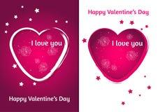 Coração dos Valentim Grupo de cartão do dia do ` s de dois Valentim com fundo borrado Imagem de Stock Royalty Free