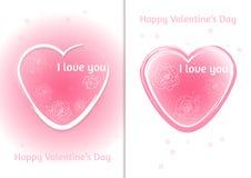Coração dos Valentim Grupo de cartão do dia do ` s de dois Valentim com fundo borrado Fotos de Stock