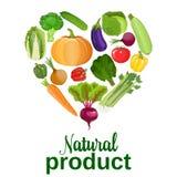 Coração dos vegetais Alimento saudável ilustração stock