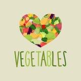 Coração dos vegetais Eu amo vegetais O conceito de um saudável morre ilustração stock