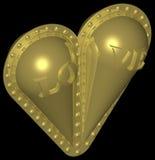 Coração dourado 007 fotografia de stock