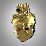 Coração dourado brilhante do techno do cyborg com detalhes dourados brilhantes e os indicadores de vidro coloridos, ilustração stock