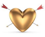 Coração dourado com setas Fotografia de Stock Royalty Free