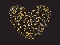 Coração dourado da música Fotografia de Stock