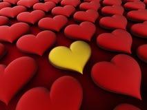 Coração dourado do amor Foto de Stock