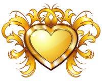 Coração dourado do vintage Imagens de Stock