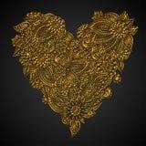 Coração dourado ornamentado Fotografia de Stock