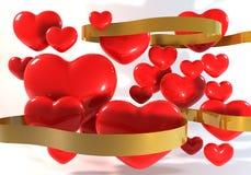 coração 3dRed com fita do ouro Imagem de Stock Royalty Free