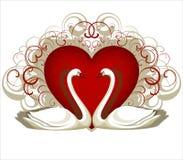 Coração e 2 cisnes Fotos de Stock Royalty Free