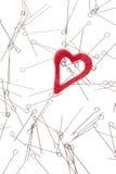 Coração e agulhas Fotos de Stock Royalty Free
