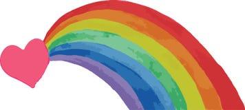 Coração e arco-íris Foto de Stock Royalty Free