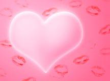 Coração e beijos Imagens de Stock