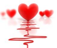 Coração e cardiogram vermelhos Fotos de Stock