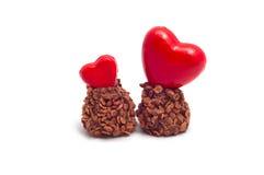 Coração e chocolates vermelhos Imagem de Stock Royalty Free