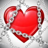 Coração e correntes Fotografia de Stock