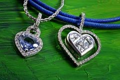 Coração e diamante de prata Fotografia de Stock Royalty Free
