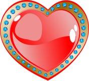 Coração e diamantes vermelhos do fulgor ilustração stock