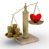 Coração e dinheiro para escalas Imagem de Stock