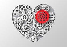 Coração e engrenagem da ilustração do vetor Fotografia de Stock Royalty Free