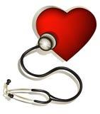 Coração e estetoscópio ilustração stock