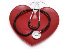 Coração e estetoscópio Imagens de Stock