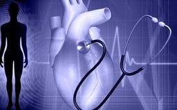 Coração e estetoscópio Fotografia de Stock Royalty Free