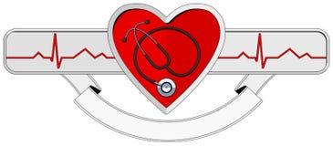Coração e estetoscópio do logotipo Foto de Stock Royalty Free