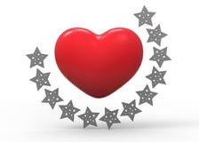 Coração e estrelas Imagens de Stock Royalty Free