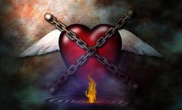 Coração e flama acorrentados ilustração royalty free
