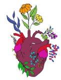 Coração e flor ilustração do vetor