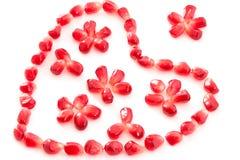 Coração e flores decorativos Fotografia de Stock Royalty Free