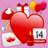 Coração e fundo dos ícones do amor Imagens de Stock