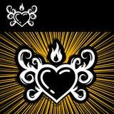 Coração e incêndio Fotografia de Stock Royalty Free