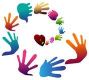Coração e mãos ilustração royalty free