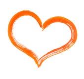 Coração e pincel Fotografia de Stock Royalty Free
