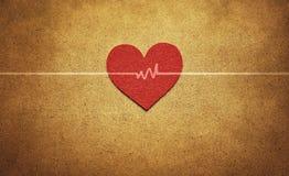 Coração e pulsação do coração vermelhos Fotos de Stock Royalty Free